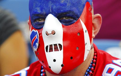 Photo of a Buffalo Bills Fan with Face Painted